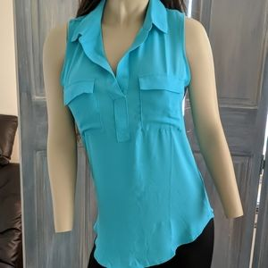 Loft medium blouse in turquoise blue green perfect